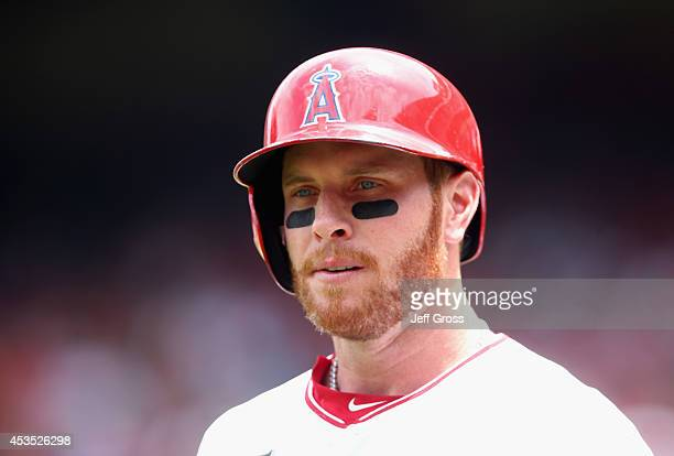 Josh Hamilton of the Los Angeles Angels of Anaheim looks on against the Detroit Tigers at Angel Stadium of Anaheim on July 27 2014 in Anaheim...