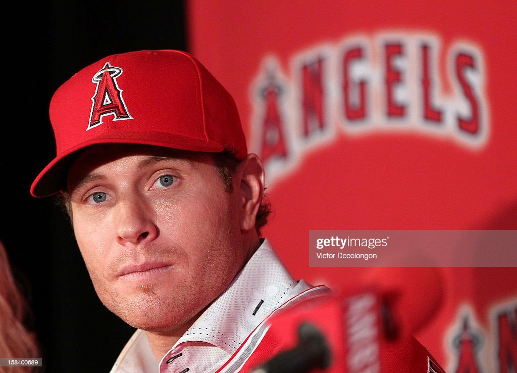 Josh Hamilton #32 of the Los Angeles Angels of Anaheim looks on during the press conference introducing Hamilton as the team's newest member at ESPN Zone at Downtown Disney on December 15, 2012 in Anaheim, California.