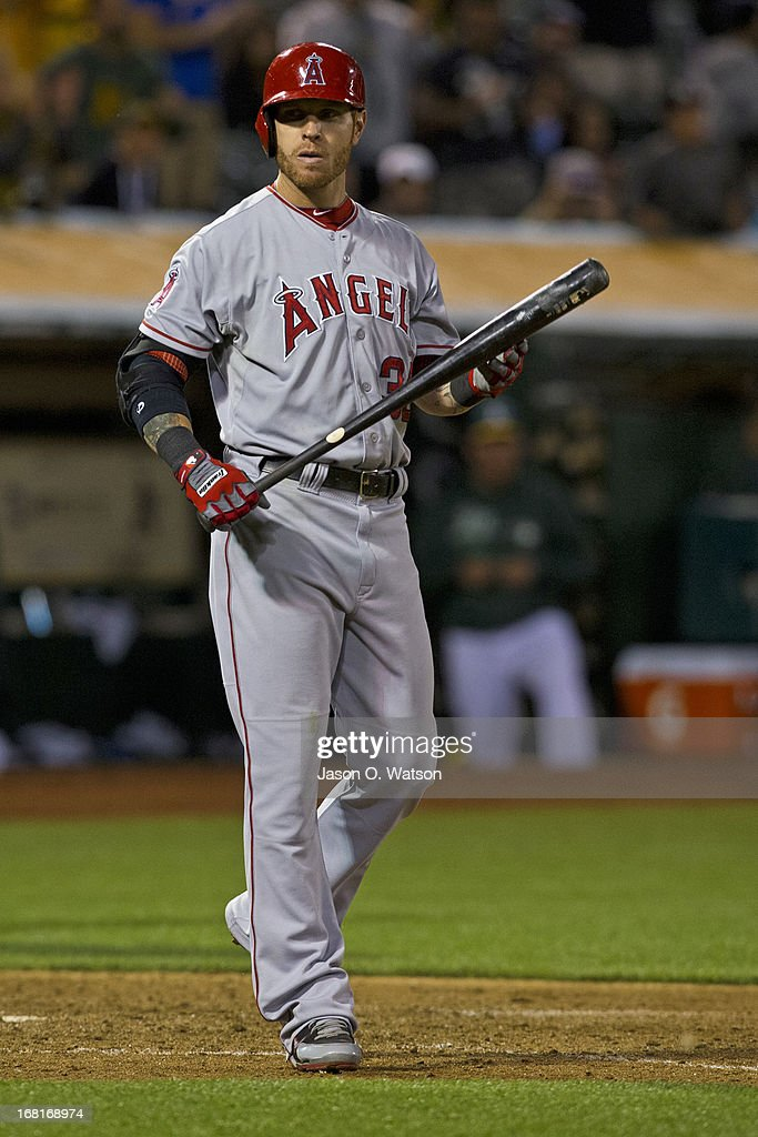 Josh Hamilton #32 of the Los Angeles Angels of Anaheim reacts after striking out against the Oakland Athletics during the ninth inning at O.co Coliseum on April 29, 2013 in Oakland, California. The Oakland Athletics defeated the Los Angeles Angels of Anaheim 10-8 in 19 innings.
