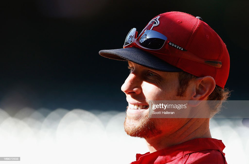 Josh Hamilton #32 of the Los Angeles Angels of Anaheim waits near the batting cage before the start of the game against the Houston Astros at Minute Maid Park on May 8, 2013 in Houston, Texas.