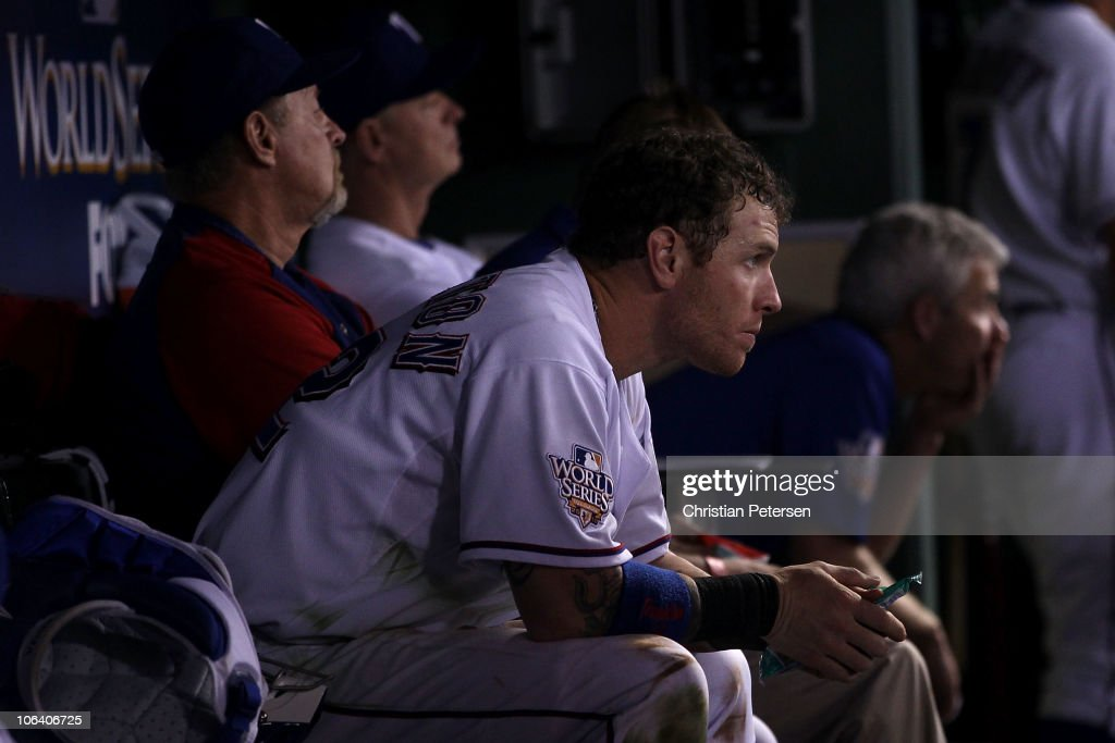 <a gi-track='captionPersonalityLinkClicked' href=/galleries/search?phrase=Josh+Hamilton&family=editorial&specificpeople=234355 ng-click='$event.stopPropagation()'>Josh Hamilton</a> #32 of the Texas Rangers looks on dejected from the dugout late in the game against the San Francisco Giants in Game Four of the 2010 MLB World Series at Rangers Ballpark in Arlington on October 31, 2010 in Arlington, Texas.