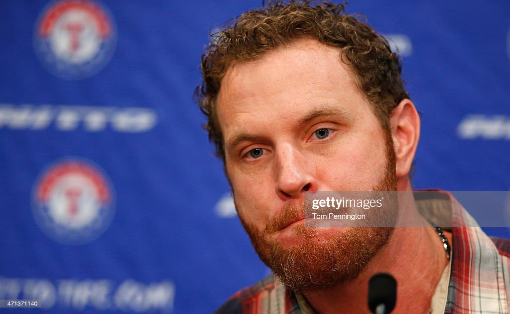 <a gi-track='captionPersonalityLinkClicked' href=/galleries/search?phrase=Josh+Hamilton+-+Baseball+Player&family=editorial&specificpeople=234355 ng-click='$event.stopPropagation()'>Josh Hamilton</a>, outfielder for the Texas Rangers, talks with the media at Globe Life Park on April 27, 2015 in Arlington, Texas. Hamilton was acquired from the Los Angels in exchange for a player to be named later or cash considerations.