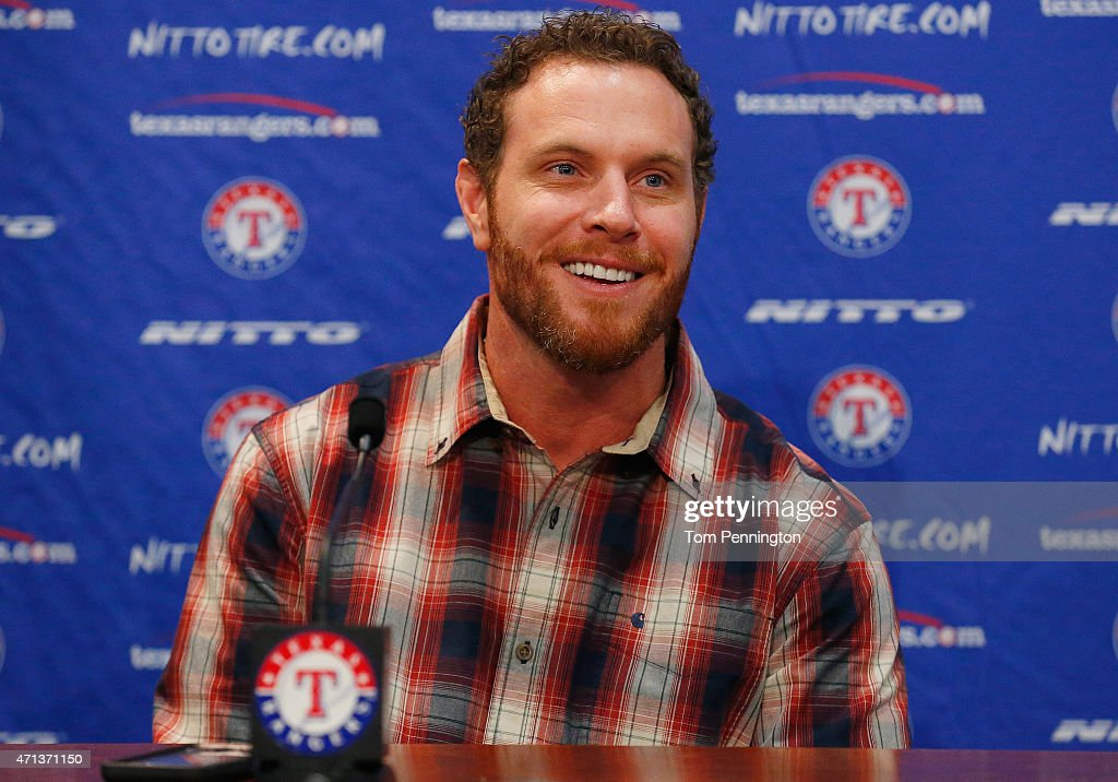 <a gi-track='captionPersonalityLinkClicked' href=/galleries/search?phrase=Josh+Hamilton&family=editorial&specificpeople=234355 ng-click='$event.stopPropagation()'>Josh Hamilton</a>, outfielder for the Texas Rangers, talks with the media at Globe Life Park on April 27, 2015 in Arlington, Texas. Hamilton was acquired from the Los Angels in exchange for a player to be named later or cash considerations.