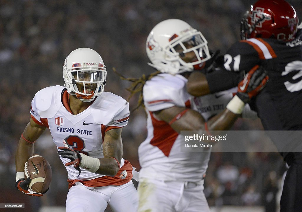 Josh Harper #3 of Fresno State Bulldogs runs against the San Diego State Aztecs during their game on October 26, 2013 at Qualcomm Stadium in San Diego, California.