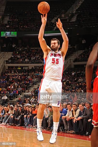 Josh Harrellson of the Detroit Piston shoots the ball against the Chicago Bulls on November 27 2013 at The Palace of Auburn Hills in Auburn Hills...