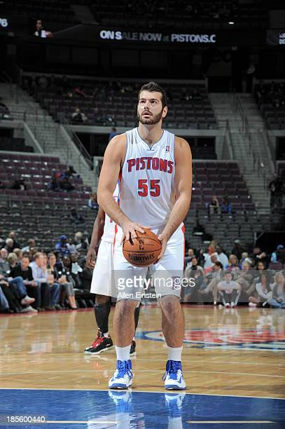 Josh Harrellson of the Detroit Pistons shoots a foul shot against the Washington Wizards during the game on October 22 2013 at The Palace of Auburn...