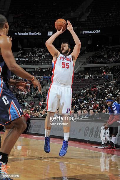 Josh Harrellson of the Detroit Pistons shoots the ball against the Charlotte Bobcats on December 20 2013 at The Palace of Auburn Hills in Auburn...