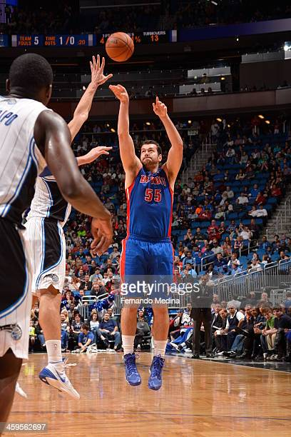 Josh Harrellson of the Detroit Pistons shoots the ball against the Orlando Magic during the game on December 27 2013 at Amway Center in Orlando...