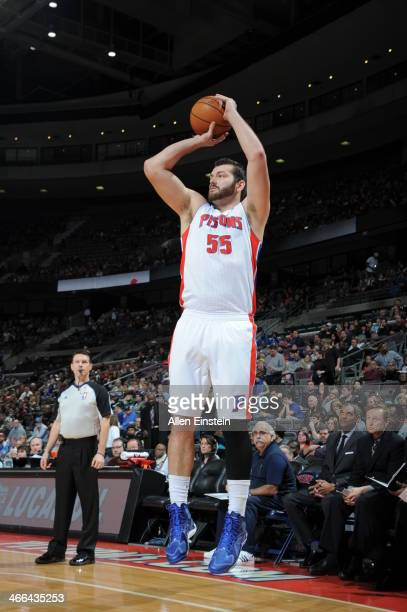 Josh Harrellson of the Detroit Pistons taking a shot during a game against the Philadelphia 76ers on February 1 2014 at The Palace of Auburn Hills in...