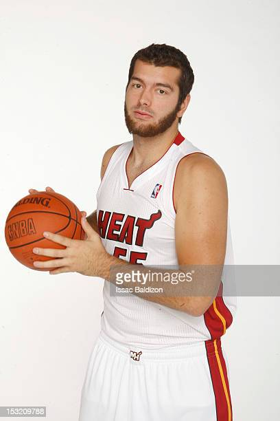 Josh Harrellson of the Miami Heat poses for a portrait during the 2012 Miami Heat Media Day on September 28 2012 at American Airlines Arena in Miami...