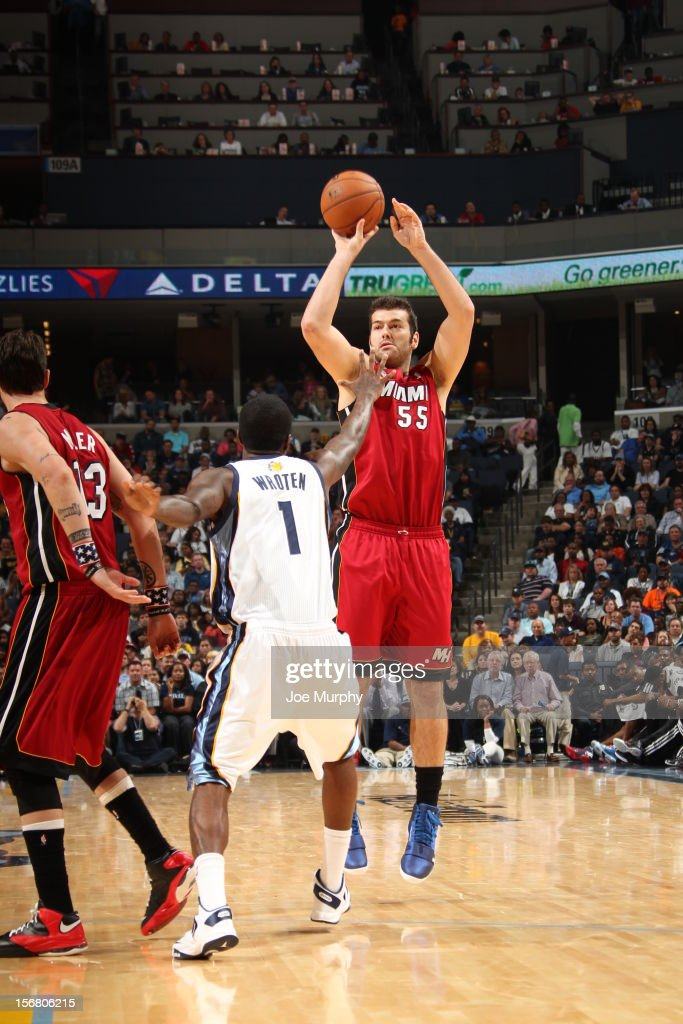 Josh Harrellson #55 of the Miami Heat takes a shot over <a gi-track='captionPersonalityLinkClicked' href=/galleries/search?phrase=Tony+Wroten&family=editorial&specificpeople=7651920 ng-click='$event.stopPropagation()'>Tony Wroten</a> #1 of the Memphis Grizzlies on November 11, 2012 at FedExForum in Memphis, Tennessee.