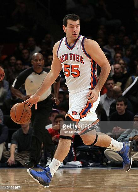 Josh Harrellson of the New York Knicks in action against the New Jersey Nets during their pre season game on December 21 2011 at Madison Square...