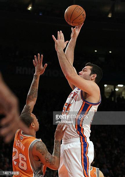 Josh Harrellson of the New York Knicks in action against the Phoenix Suns on January 18 2012 at Madison Square Garden in New York City The Suns...