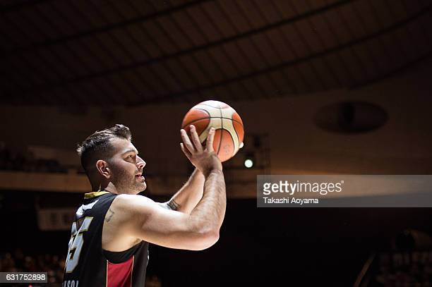 Josh Harrellson of the Osaka Evessa takes a three point shot during the ThreePoint Contest as part of the 2017 Bleague AllStar weekend at Yoyogi...