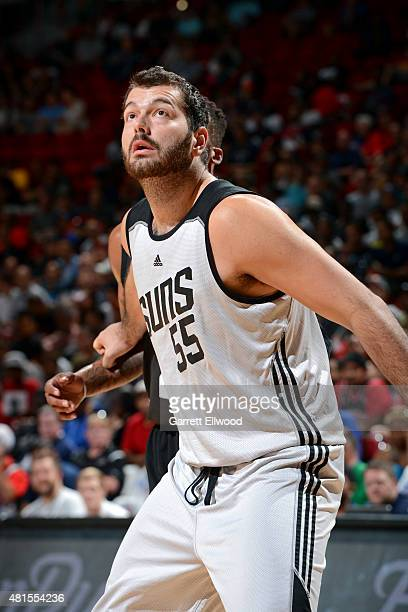Josh Harrellson of the Phoenix Suns battles for position against the Chicago Bulls during the game on July 18 2015 at Thomas And Mack Center Las...