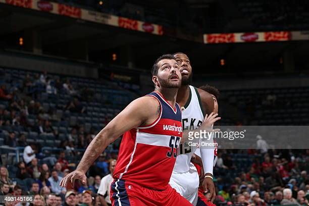 Josh Harrellson of the Washington Wizards boxes out against the Milwaukee Bucks during a preseason game on October 17 2015 at the BMO Harris Bradley...