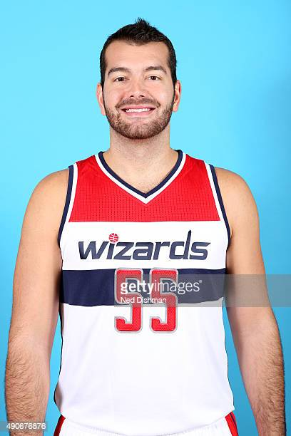 Josh Harrellson of the Washington Wizards poses for a photo during 2015 media day at the Verizon Center on May 18 2015 in Washington DC NOTE TO USER...