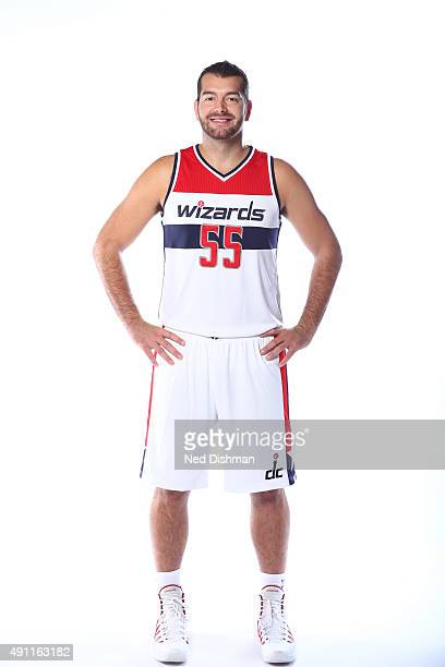 Josh Harrellson of the Washington Wizards poses for a photo during media day on September 28 2015 at the Verizon Center in Washington DC NOTE TO USER...