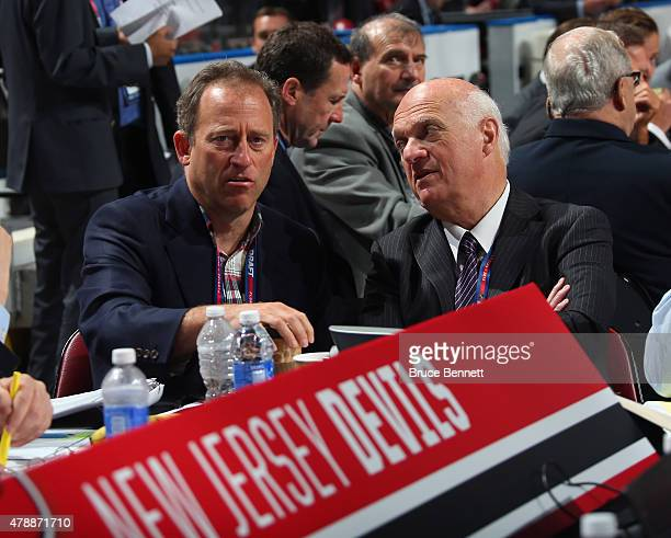 Josh Harris and Lou Lamoriello of the New Jersey Devils attend the 2015 NHL Draft at BBT Center on June 27 2015 in Sunrise Florida