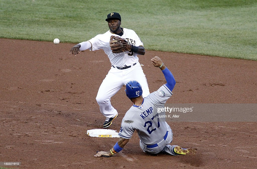 Josh Harrison #5 of the Pittsburgh Pirates attempts to turn a double play in the first inning against <a gi-track='captionPersonalityLinkClicked' href=/galleries/search?phrase=Matt+Kemp&family=editorial&specificpeople=567161 ng-click='$event.stopPropagation()'>Matt Kemp</a> #27 of the Los Angeles Dodgers during the game on August 15, 2012 at PNC Park in Pittsburgh, Pennsylvania.