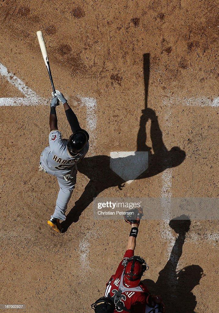 Josh Harrison #5 of the Pittsburgh Pirates bats against the Arizona Diamondbacks during the MLB game at Chase Field on April 10, 2013 in Phoenix, Arizona. The Diamondbacks defeated the Pirates 10-2.