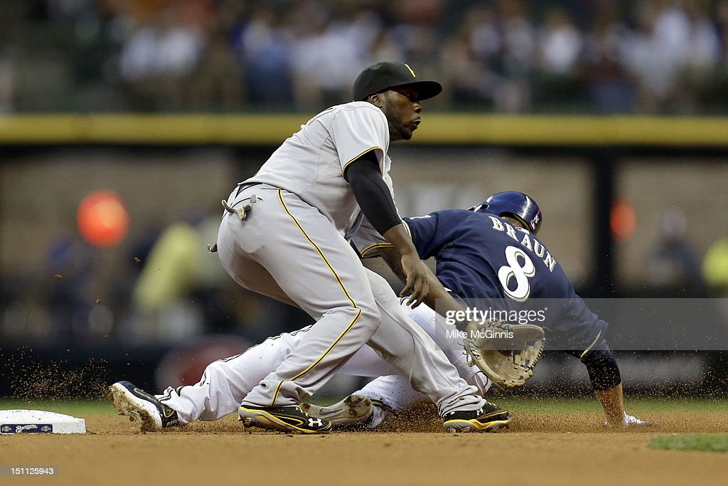 Josh Harrison #5 of the Pittsburgh Pirates gets the throw late as Ryan Braun #8 of the Milwaukee Brewers slides into second base with a stolen base at Miller Park on September 01, 2012 in Milwaukee, Wisconsin.