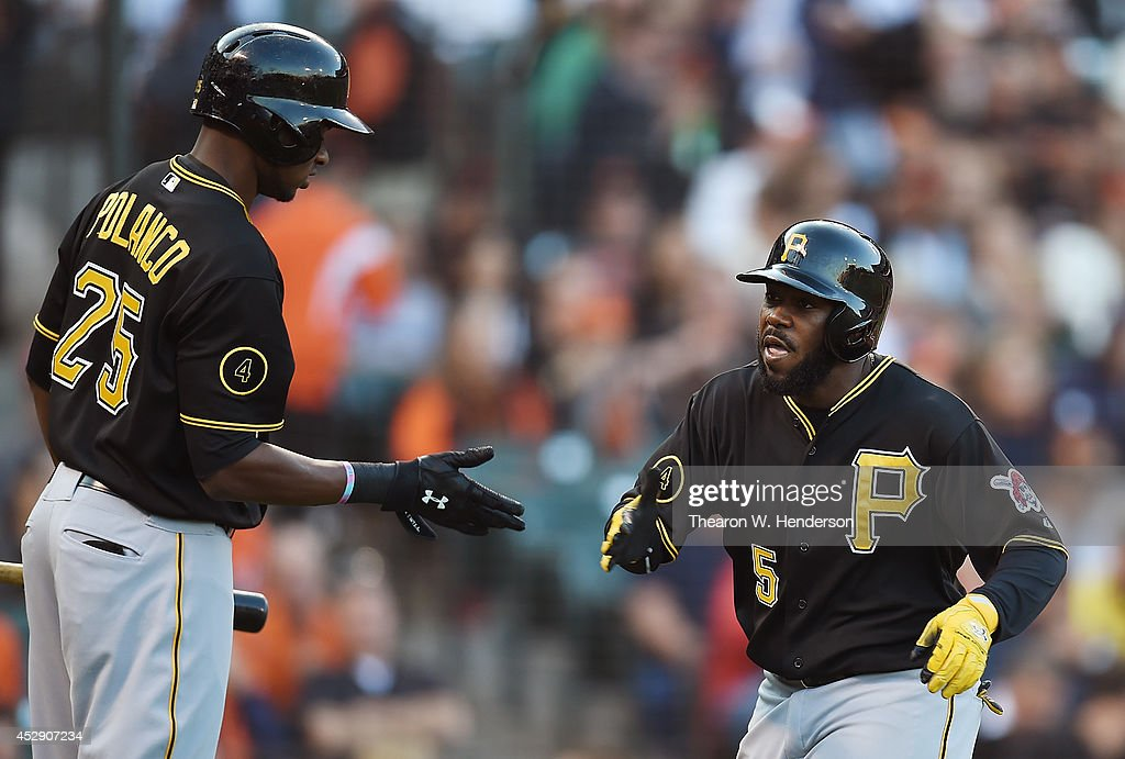 Josh Harrison #5 of the Pittsburgh Pirates is congratulated by <a gi-track='captionPersonalityLinkClicked' href=/galleries/search?phrase=Gregory+Polanco&family=editorial&specificpeople=11178456 ng-click='$event.stopPropagation()'>Gregory Polanco</a> #25 after Harrison hit a leadoff home run in the top of the first inning against the San Francisco Giants at AT&T Park on July 29, 2014 in San Francisco, California.