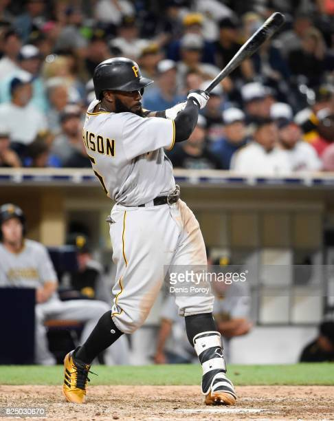 Josh Harrison of the Pittsburgh Pirates plays during a baseball game against the San Diego Padres at PETCO Park on July 29 2017 in San Diego...