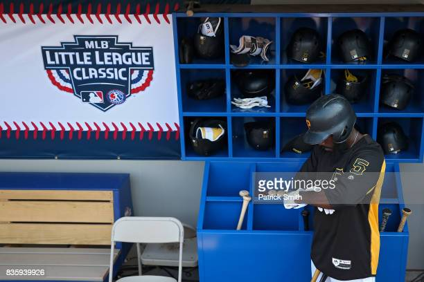 Josh Harrison of the Pittsburgh Pirates prepares for batting practice before playing the St Louis Cardinals in the inaugural MLB Little League...