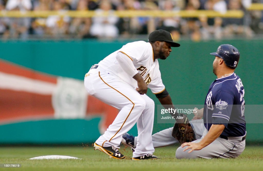Josh Harrison #5 of the Pittsburgh Pirates tags out <a gi-track='captionPersonalityLinkClicked' href=/galleries/search?phrase=Yonder+Alonso&family=editorial&specificpeople=4424898 ng-click='$event.stopPropagation()'>Yonder Alonso</a> #23 of the San Diego Padres stealing during the game on August 11, 2012 at PNC Park in Pittsburgh, Pennsylvania.