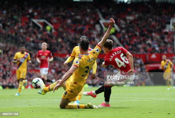 Josh Harrop of Manchester United scores a goal to make it 10 during the Premier League match between Manchester United and Crystal Palace at Old...
