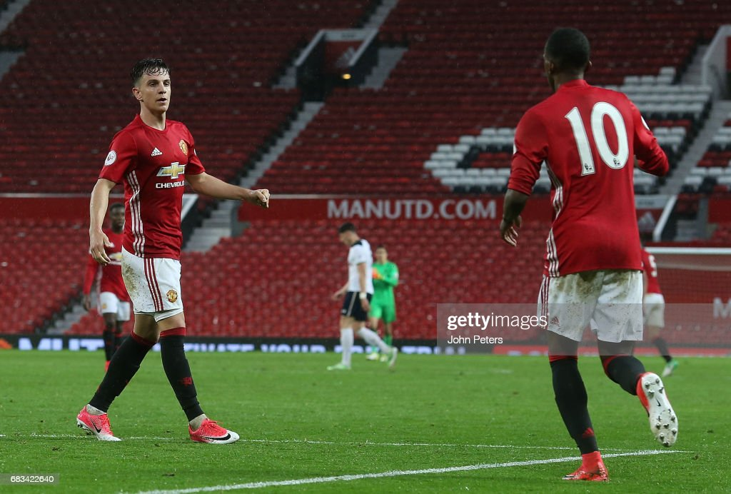 Josh Harrop of Manchester United U23s celebrates scoring their second goal during the Premier League 2 match between Manchester United U23s and Tottenham Hotspur U23s at Old Trafford on May 15, 2017 in Manchester, England.
