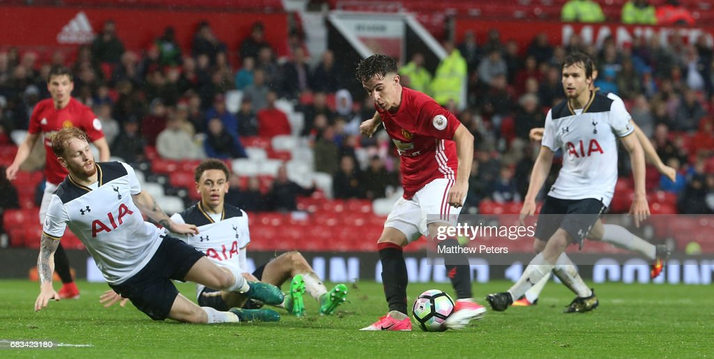 Josh Harrop of Manchester United U23s scores their second goal during the Premier League 2 match between Manchester United U23s and Tottenham Hotspur U23s at Old Trafford on May 15, 2017 in Manchester, England.