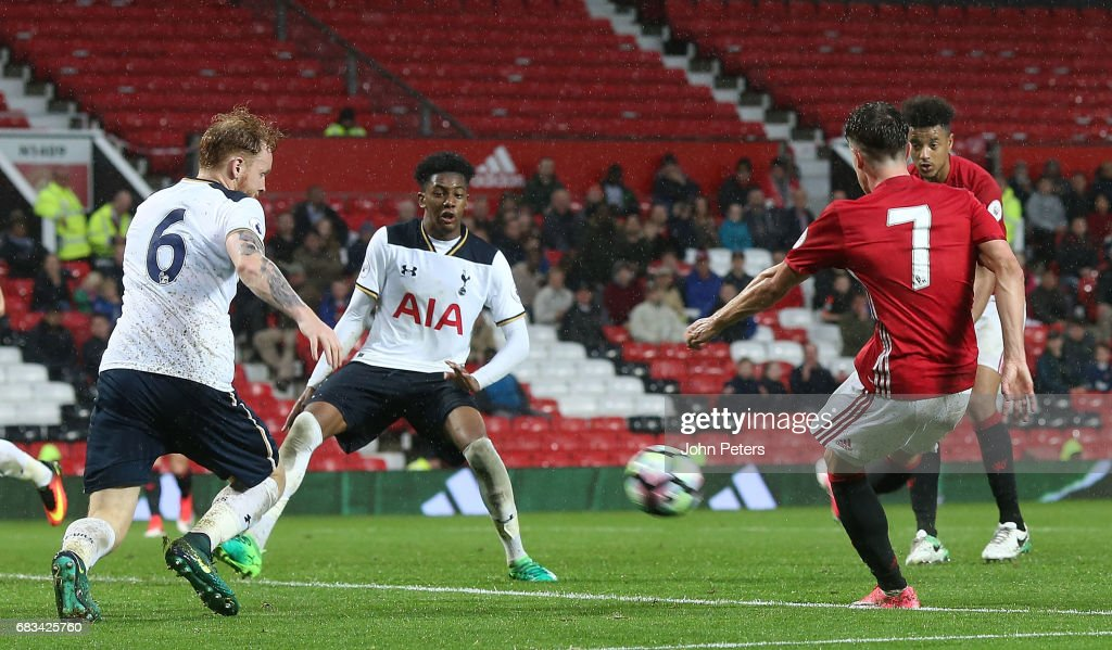 Josh Harrop of Manchester United U23s scores their third goal during the Premier League 2 match between Manchester United U23s and Tottenham Hotspur U23s at Old Trafford on May 15, 2017 in Manchester, England.