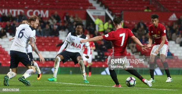 Josh Harrop of Manchester United U23s scores their third goal during the Premier League 2 match between Manchester United U23s and Tottenham Hotspur...