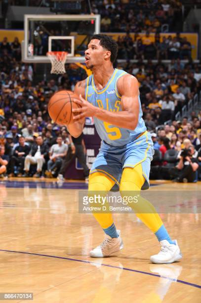 Josh Hart of the Los Angeles Lakers handles the ball against the Washington Wizards on October 25 2017 at STAPLES Center in Los Angeles California...