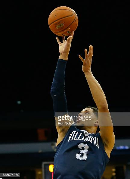 Josh Hart of the Villanova Wildcats attempts a shot against the Seton Hall Pirates during an NCAA college basketball game at Prudential Center on...
