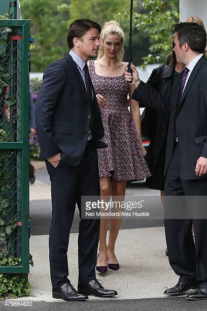 Josh Hartnett and Tamsin Egerton seen arriving at Wimbledon on July 8 2015 in London England