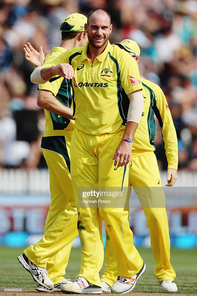 Josh Hastings of Australia celebrates the wicket of Ish Sodhi of the Black Caps during the 3rd One Day International cricket match between the New Zealand Black Caps and Australia at Seddon Park on February 8, 2016 in Hamilton, New Zealand.