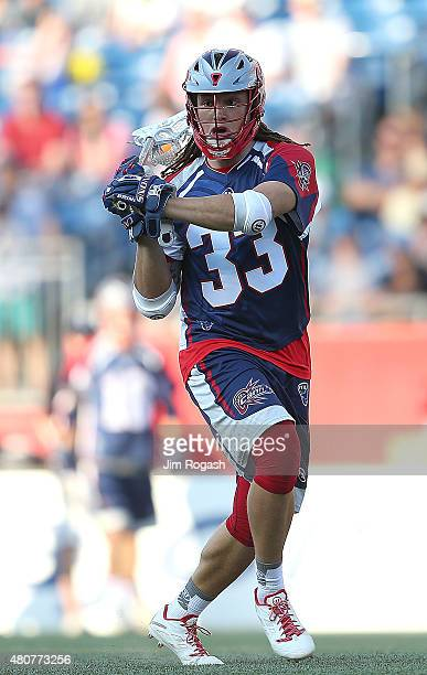 Josh Hawkins of Boston Cannons runs the ball in the first half against the Ohio Machine at Gillette Stadium on July 11 2015 in Foxboro Massachusetts