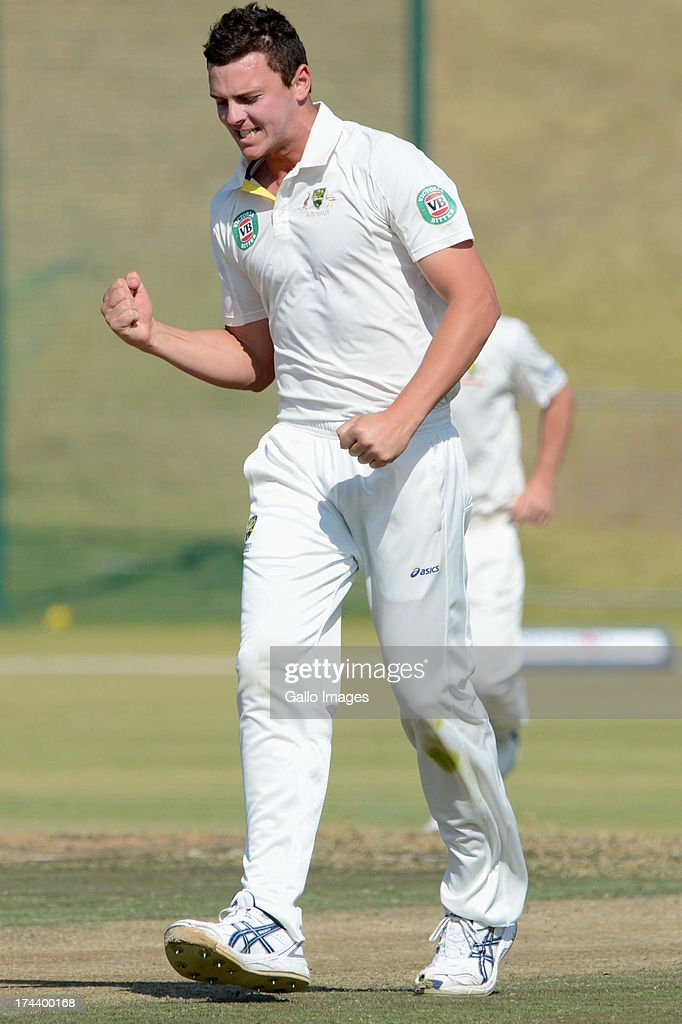 Josh Hazelwood of Australia A celebrates the wicket of Reeza Hendricks of South Africa A during day 2 of the 1st Test match between South Africa A and Australia A at Tuks Oval on July 25, 2013 in Pretoria, South Africa.