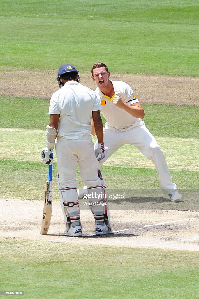 Josh Hazelwood of Australia celebrates the wicket of <a gi-track='captionPersonalityLinkClicked' href=/galleries/search?phrase=Murali+Vijay&family=editorial&specificpeople=5592328 ng-click='$event.stopPropagation()'>Murali Vijay</a> of India (lbw) during day five of the Third Test match between Australia and India at Melbourne Cricket Ground on December 30, 2014 in Melbourne, Australia.
