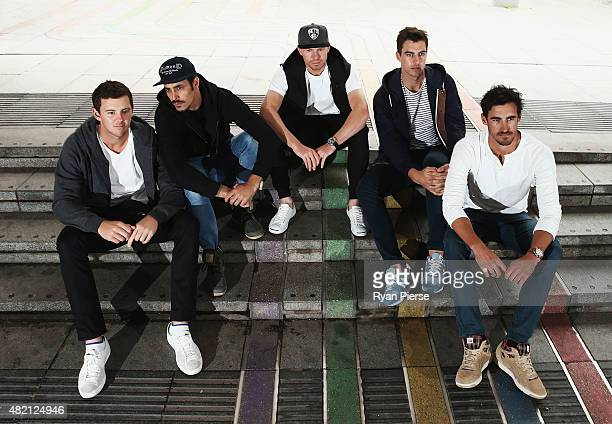 Josh Hazlewood Mitchell Johnson Peter Siddle Pat Cummins and Mitchell Starc of Australia pose during an Australian Fast Bowlers Portrait Session on...