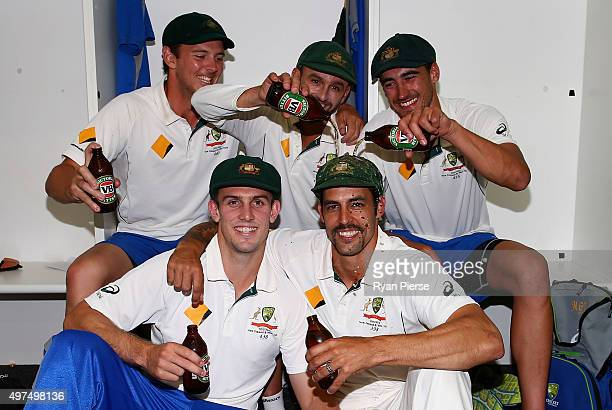 Josh Hazlewood Nathan Lyon Mitchell Starc Mitch Marsh and Mitchell Johnson of Australia pose in the change rooms after Mitchell Johnson's last test...