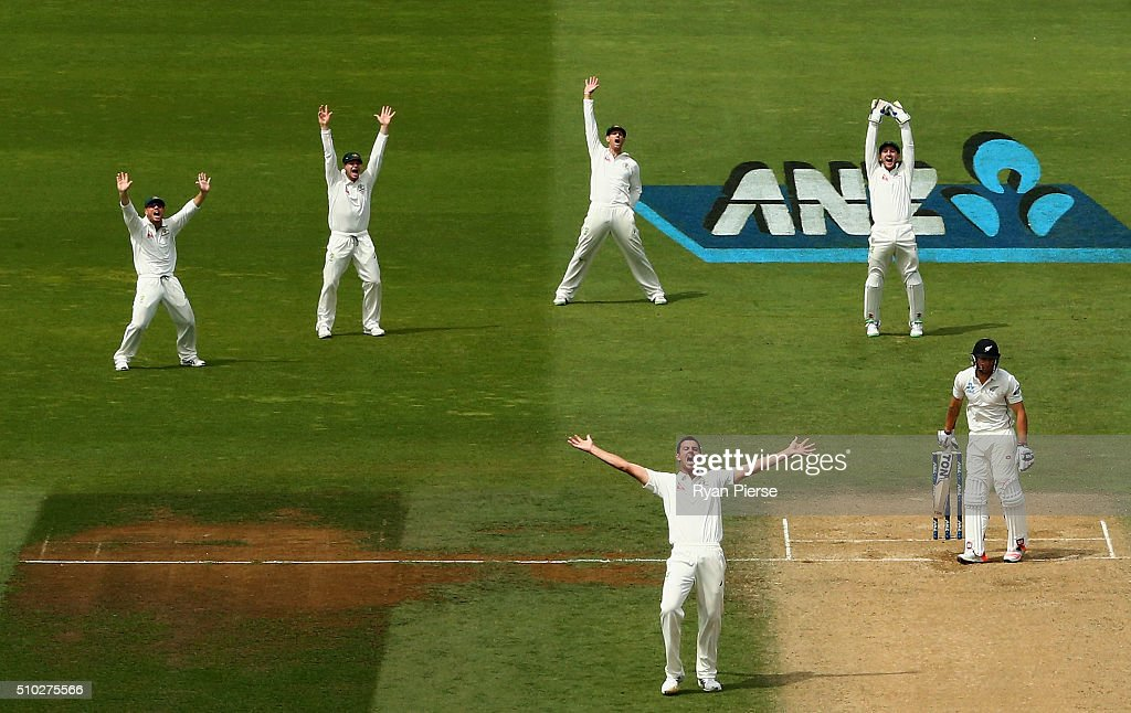 <a gi-track='captionPersonalityLinkClicked' href=/galleries/search?phrase=Josh+Hazlewood&family=editorial&specificpeople=4884811 ng-click='$event.stopPropagation()'>Josh Hazlewood</a> of Australia appeals for the wicket of <a gi-track='captionPersonalityLinkClicked' href=/galleries/search?phrase=Doug+Bracewell&family=editorial&specificpeople=6680321 ng-click='$event.stopPropagation()'>Doug Bracewell</a> of New Zealand during day four of the Test match between New Zealand and Australia at Basin Reserve on February 15, 2016 in Wellington, New Zealand.