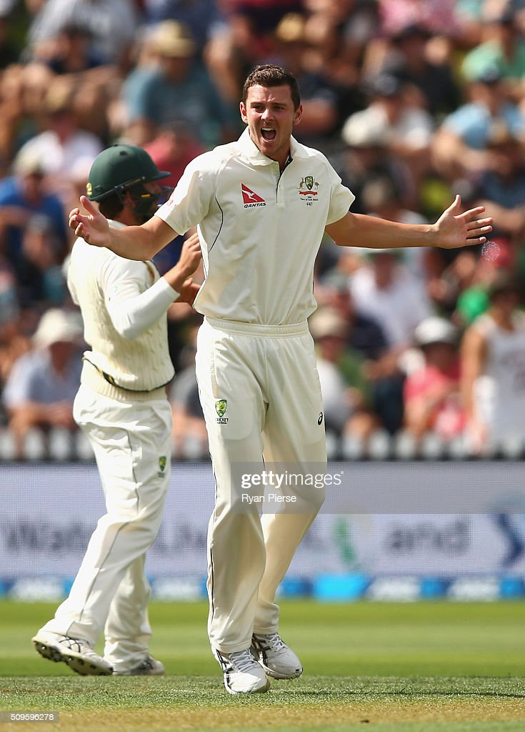 <a gi-track='captionPersonalityLinkClicked' href=/galleries/search?phrase=Josh+Hazlewood&family=editorial&specificpeople=4884811 ng-click='$event.stopPropagation()'>Josh Hazlewood</a> of Australia appeals for the wicket of Tom Latham of New Zealand during day one of the Test match between New Zealand and Australia at Basin Reserve on February 12, 2016 in Wellington, New Zealand.