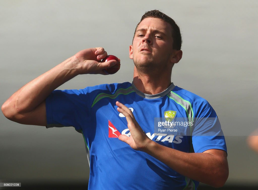 <a gi-track='captionPersonalityLinkClicked' href=/galleries/search?phrase=Josh+Hazlewood&family=editorial&specificpeople=4884811 ng-click='$event.stopPropagation()'>Josh Hazlewood</a> of Australia bowls during an Australian nets session at Basin Reserve on February 11, 2016 in Wellington, New Zealand.