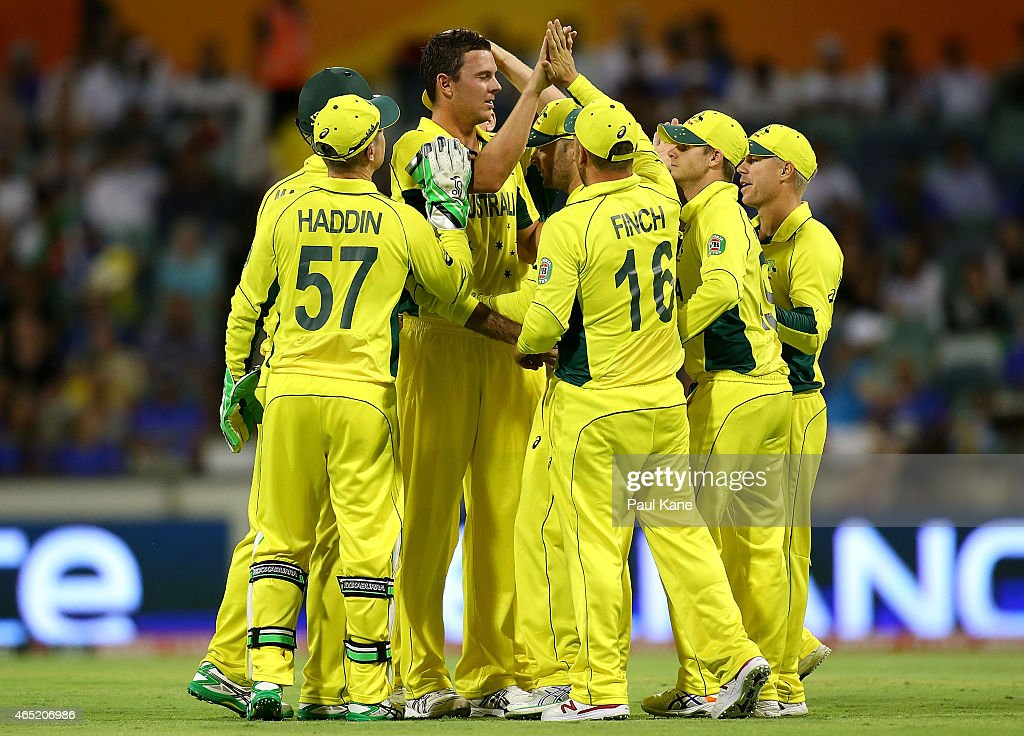 Josh Hazlewood of Australia celebrates after dismissing Javed Ahmadi of Afghanistan during the 2015 ICC Cricket World Cup match between Australia and Afghanistan at WACA on March 4, 2015 in Perth, Australia.
