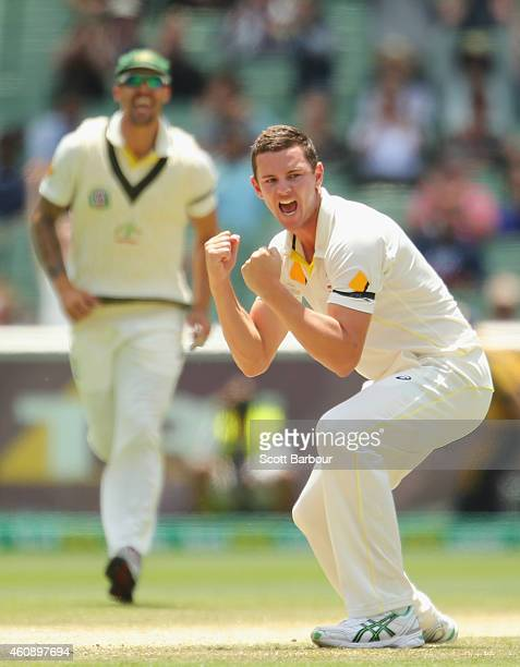 Josh Hazlewood of Australia celebrates after dismissing Murali Vijay of India during day five of the Third Test match between Australia and India at...