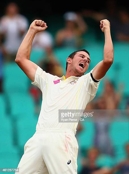 Josh Hazlewood of Australia celebrates after taking the wicket of Ravichandran Ashwin of India during day five of the Fourth Test match between...